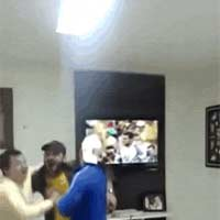 enthusiastic guy Highfive lcd tv break it