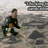 Love sandcastle soccer player