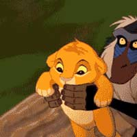 Rafiki holds up simba and off the cliff