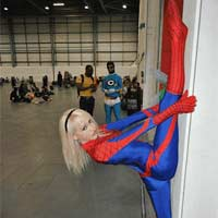 Spiderman climbing girl leg